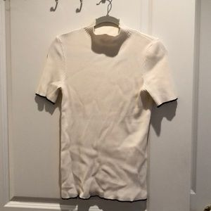 Zara Knitwear Cream short sleeve mock neck sweater